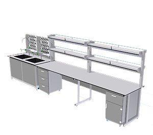 Bàn thí nghiệm áp tường BTN-AT05 giá để dụng cụ hai tầng.