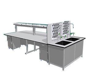 Bàn thí nghiệm trung tâm BTN-TT03 hai bồn rửa rộng thoải mái.